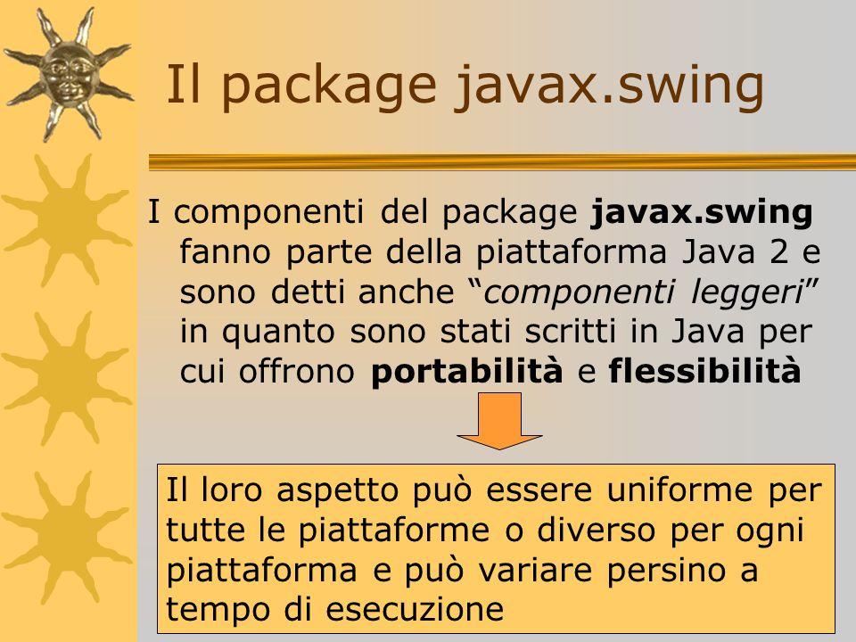 I componenti del package javax.swing fanno parte della piattaforma Java 2 e sono detti anche componenti leggeri in quanto sono stati scritti in Java p