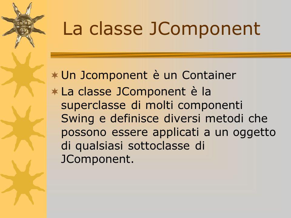 Un Jcomponent è un Container La classe JComponent è la superclasse di molti componenti Swing e definisce diversi metodi che possono essere applicati a