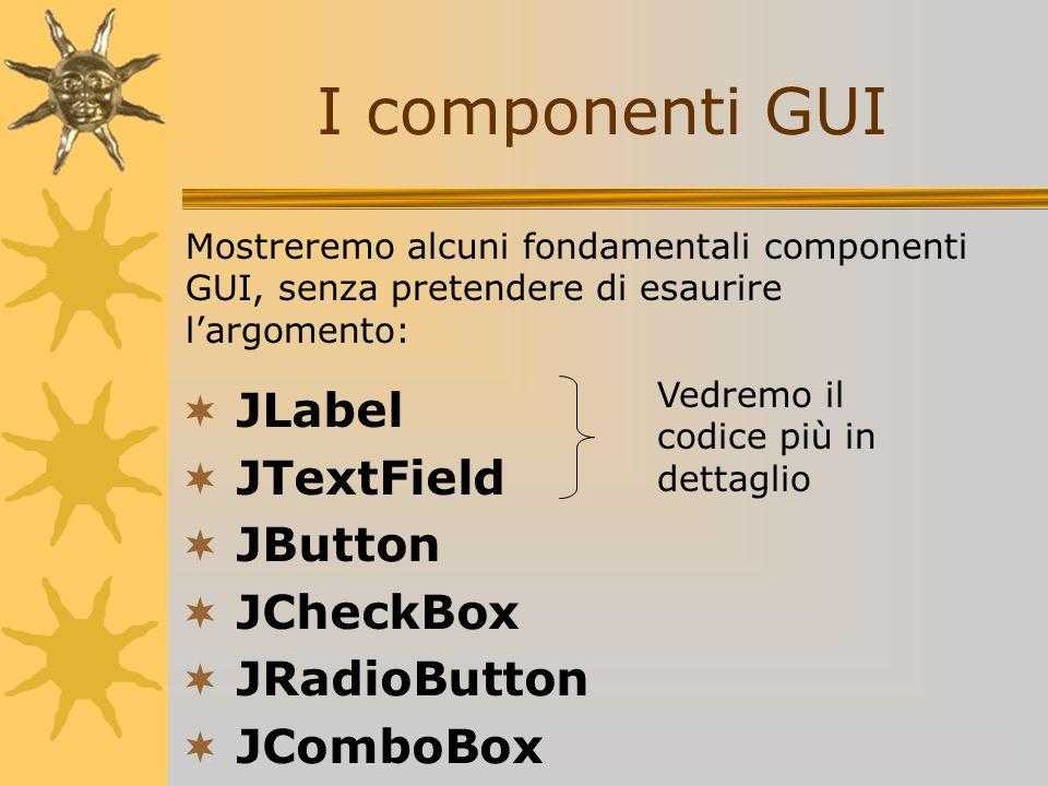 I componenti GUI JLabel JTextField JButton JCheckBox JRadioButton JComboBox Vedremo il codice più in dettaglio Mostreremo alcuni fondamentali componen