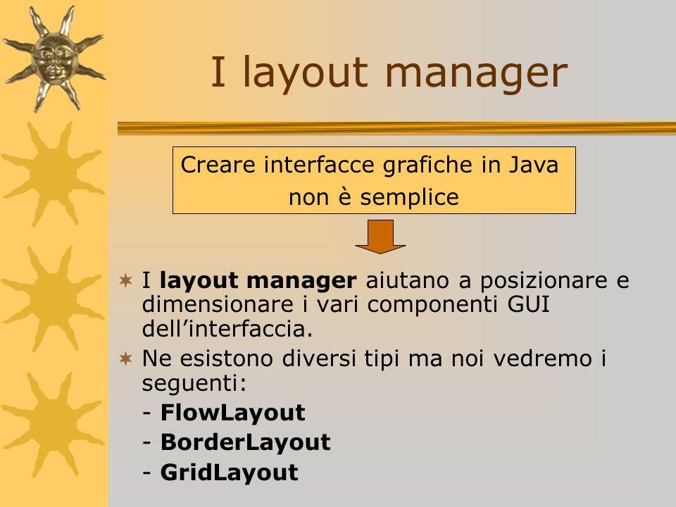 I layout manager aiutano a posizionare e dimensionare i vari componenti GUI dellinterfaccia. Ne esistono diversi tipi ma noi vedremo i seguenti: - Flo