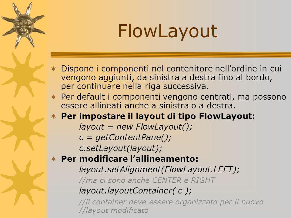 FlowLayout Dispone i componenti nel contenitore nellordine in cui vengono aggiunti, da sinistra a destra fino al bordo, per continuare nella riga succ