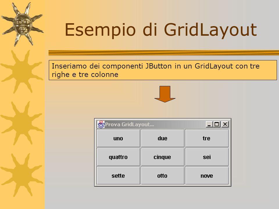 Esempio di GridLayout Inseriamo dei componenti JButton in un GridLayout con tre righe e tre colonne
