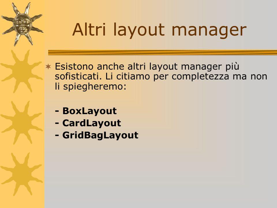 Altri layout manager Esistono anche altri layout manager più sofisticati. Li citiamo per completezza ma non li spiegheremo: - BoxLayout - CardLayout -