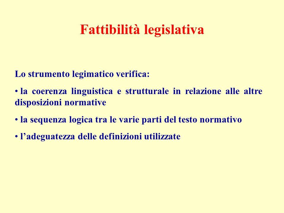 Fattibilità legislativa Lo strumento legimatico verifica: la coerenza linguistica e strutturale in relazione alle altre disposizioni normative la sequenza logica tra le varie parti del testo normativo ladeguatezza delle definizioni utilizzate