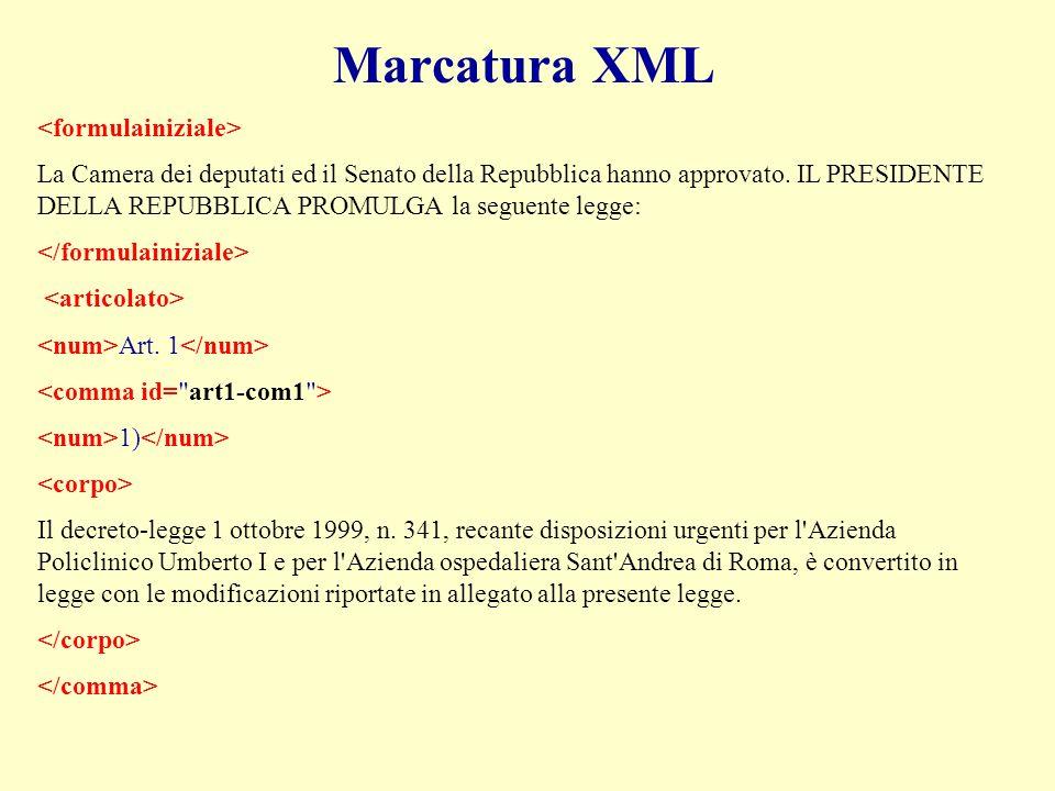 Marcatura XML La Camera dei deputati ed il Senato della Repubblica hanno approvato.