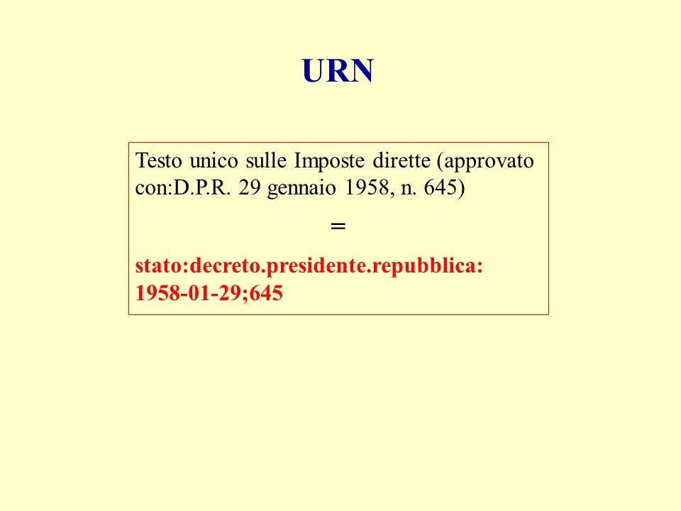 URN Testo unico sulle Imposte dirette (approvato con:D.P.R.