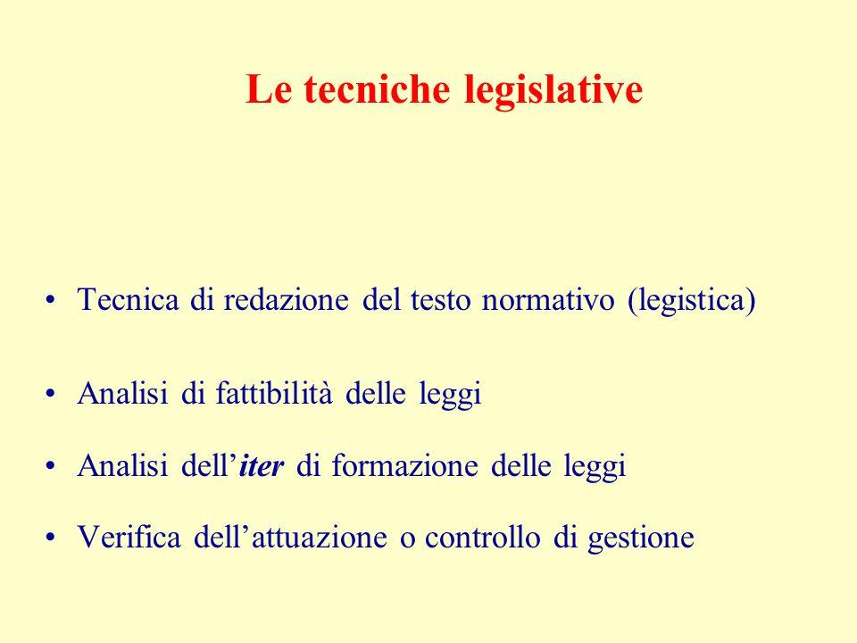 Le tecniche legislative Tecnica di redazione del testo normativo (legistica) Analisi di fattibilità delle leggi Analisi delliter di formazione delle leggi Verifica dellattuazione o controllo di gestione
