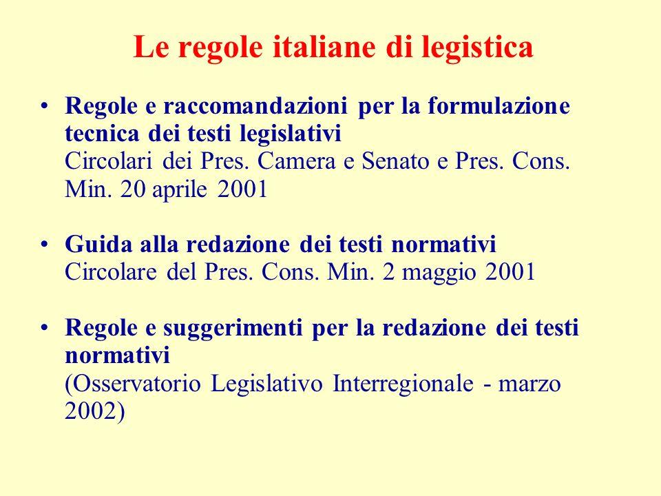 Le regole italiane di legistica Regole e raccomandazioni per la formulazione tecnica dei testi legislativi Circolari dei Pres.