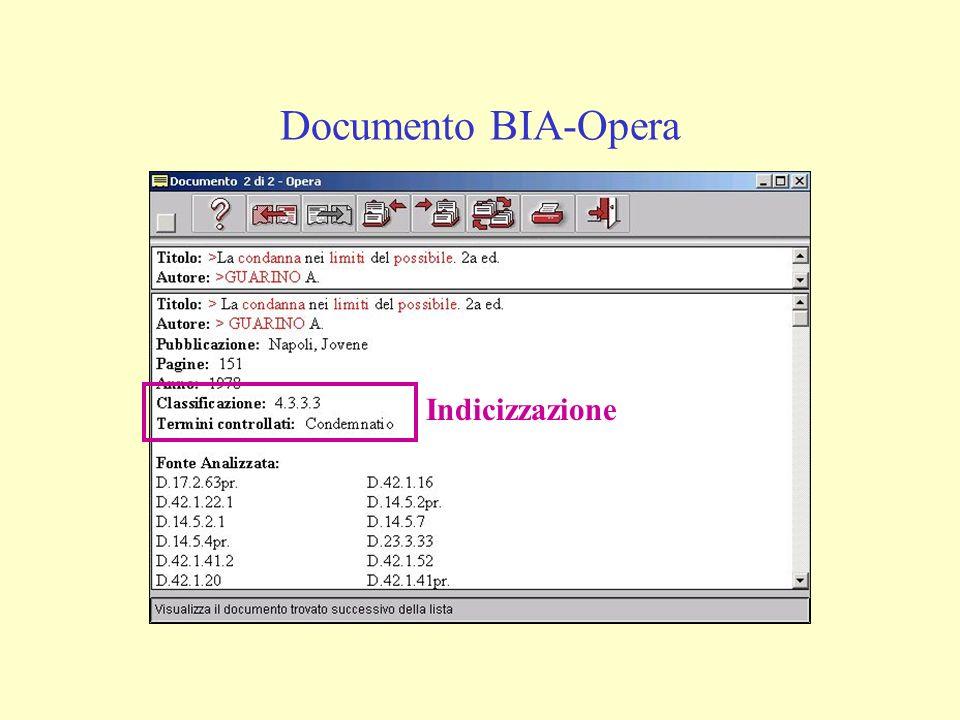 Documento BIA-Opera Indicizzazione