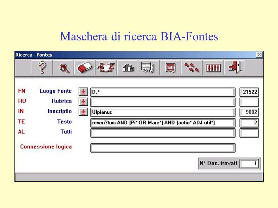 Maschera di ricerca BIA-Fontes
