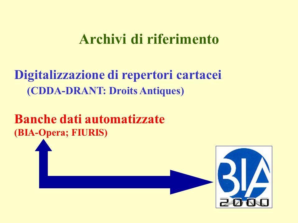 Archivi di riferimento Digitalizzazione di repertori cartacei (CDDA-DRANT: Droits Antiques) Banche dati automatizzate (BIA-Opera; FIURIS)
