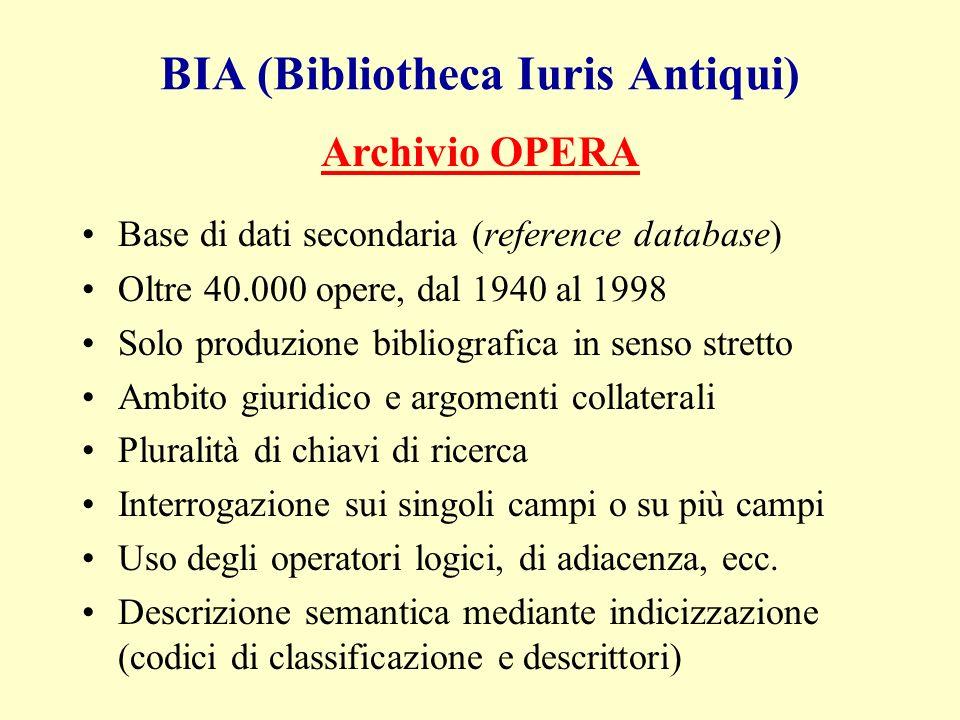 Maschera di ricerca BIA-Opera