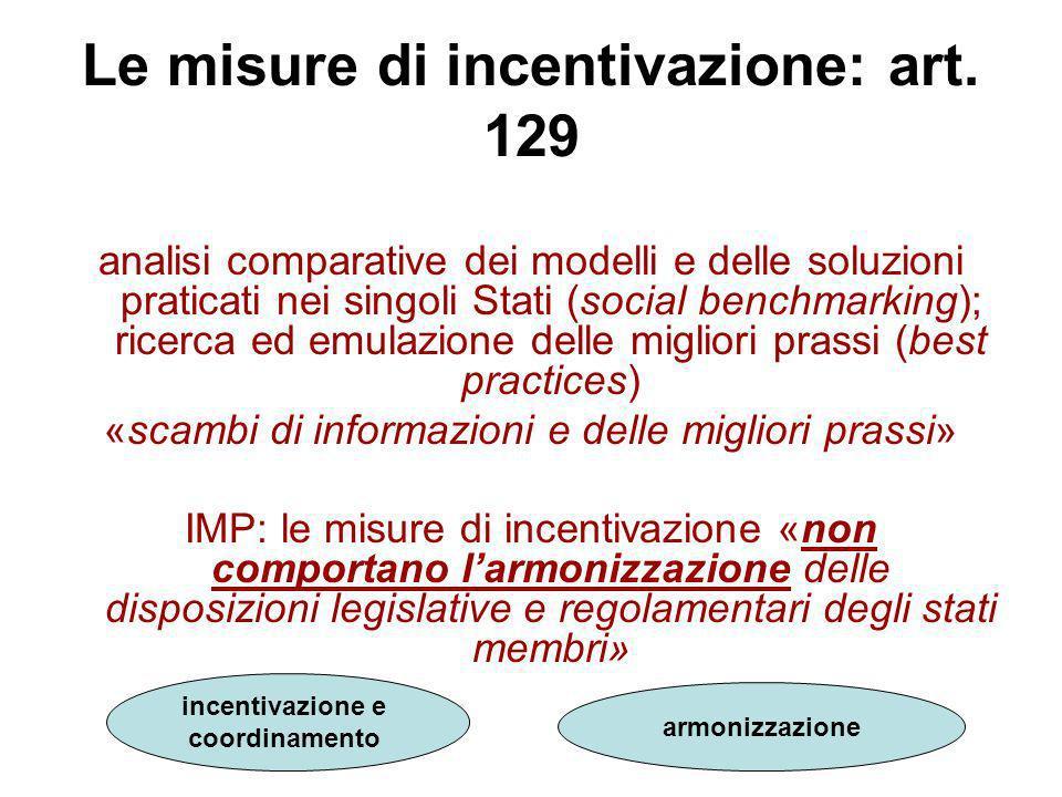 Le misure di incentivazione: art. 129 analisi comparative dei modelli e delle soluzioni praticati nei singoli Stati (social benchmarking); ricerca ed