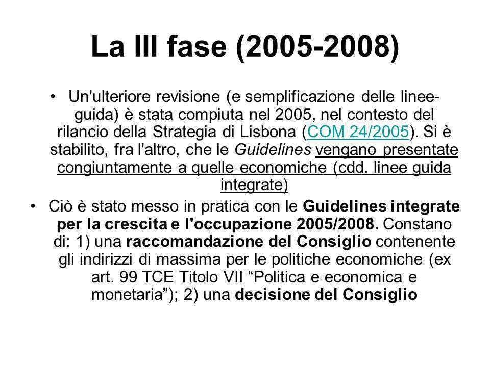 La III fase (2005-2008) Un ulteriore revisione (e semplificazione delle linee- guida) è stata compiuta nel 2005, nel contesto del rilancio della Strategia di Lisbona (COM 24/2005).