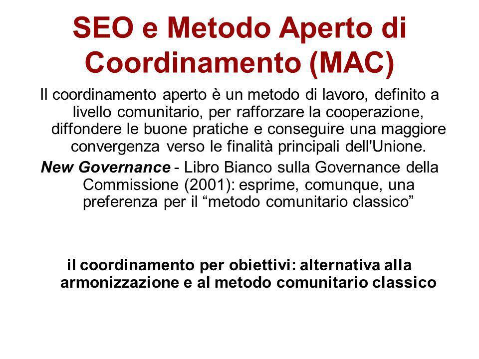 SEO e Metodo Aperto di Coordinamento (MAC) Il coordinamento aperto è un metodo di lavoro, definito a livello comunitario, per rafforzare la cooperazio