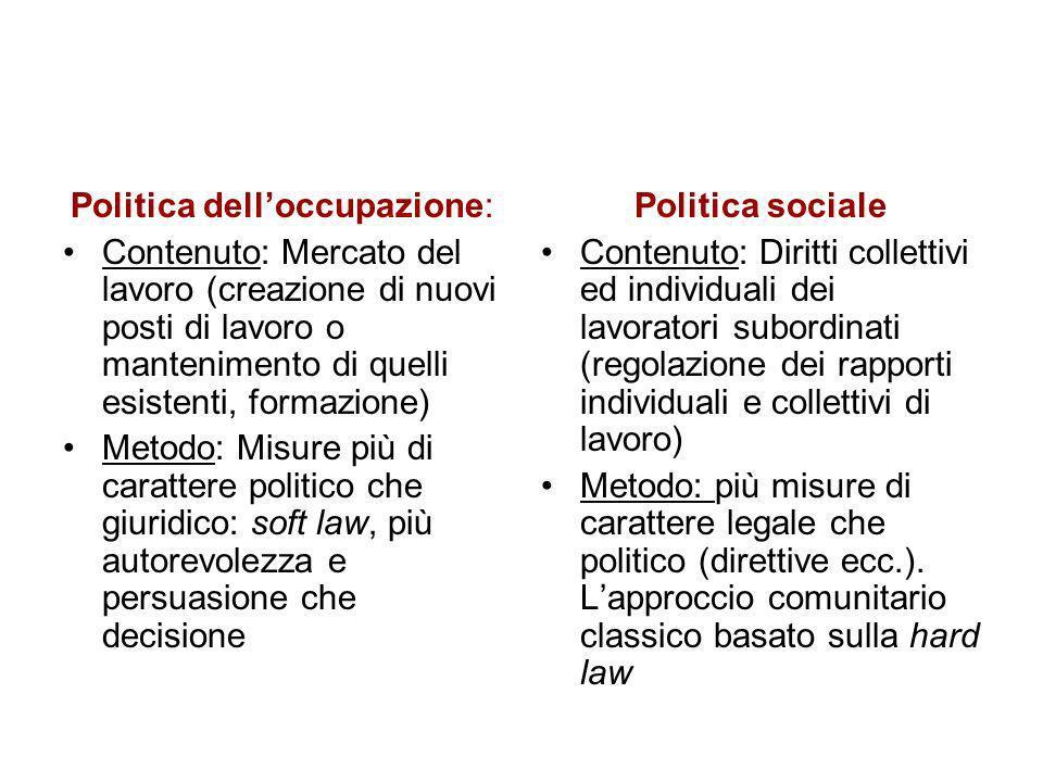 Politica delloccupazione: Contenuto: Mercato del lavoro (creazione di nuovi posti di lavoro o mantenimento di quelli esistenti, formazione) Metodo: Mi