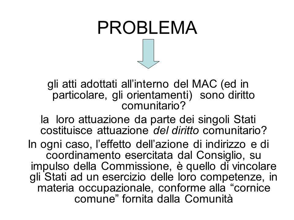 PROBLEMA gli atti adottati allinterno del MAC (ed in particolare, gli orientamenti) sono diritto comunitario? la loro attuazione da parte dei singoli