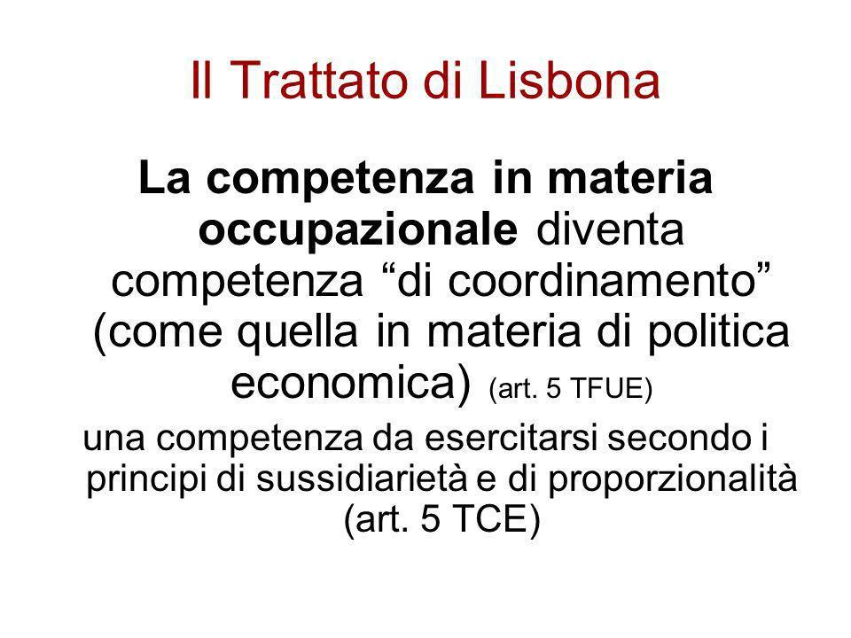 Il Trattato di Lisbona La competenza in materia occupazionale diventa competenza di coordinamento (come quella in materia di politica economica) (art.