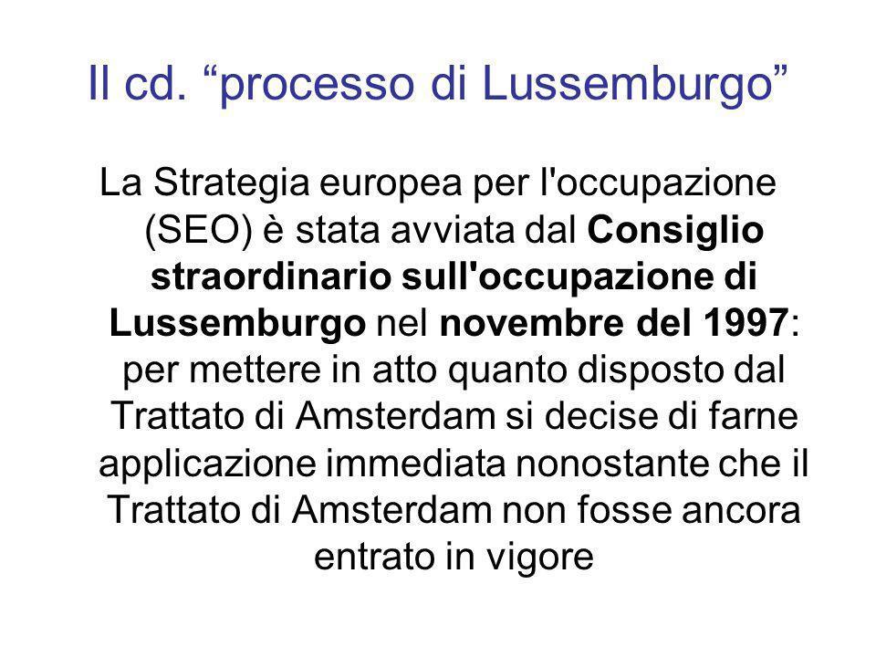 Il cd. processo di Lussemburgo La Strategia europea per l'occupazione (SEO) è stata avviata dal Consiglio straordinario sull'occupazione di Lussemburg
