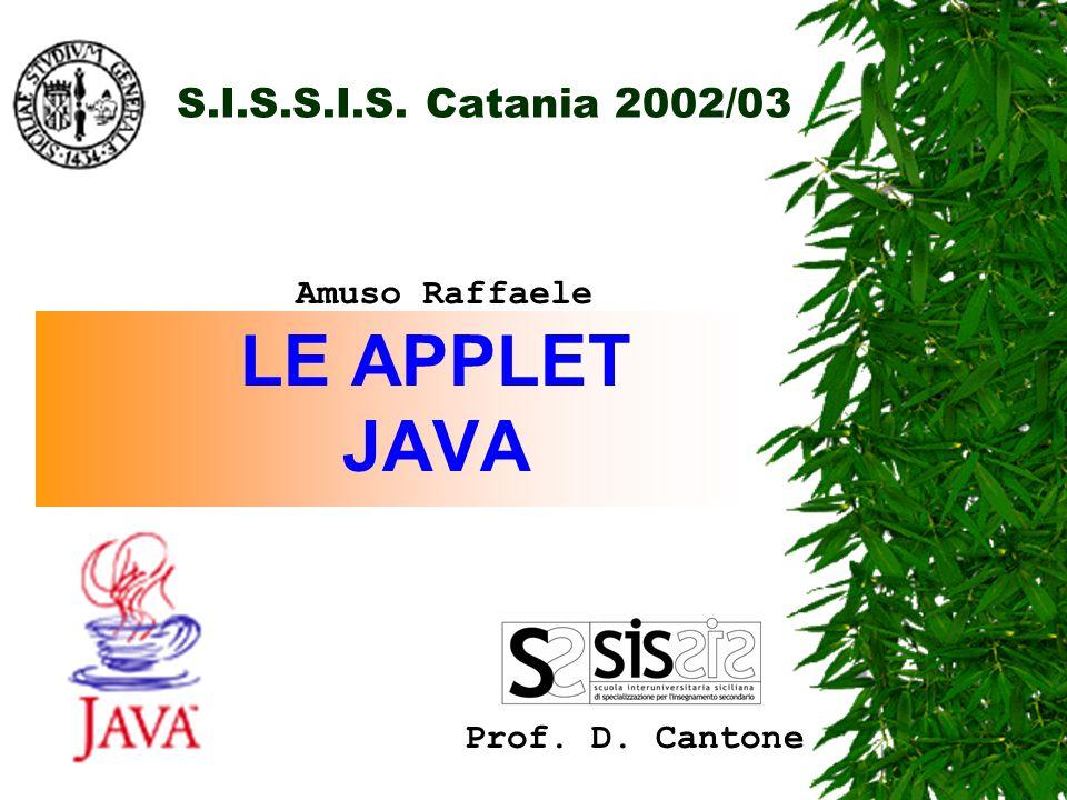 S.I.S.S.I.S. Catania 2002/03 LE APPLET JAVA Prof. D. Cantone Amuso Raffaele