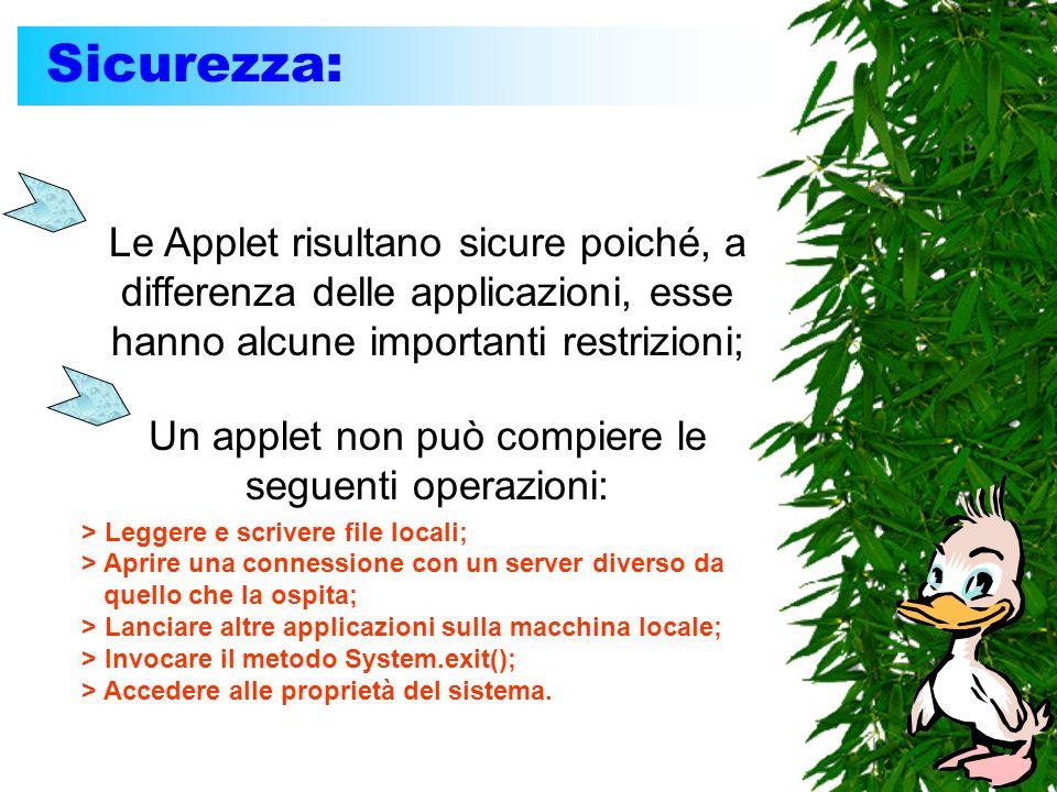 Sicurezza: Le Applet risultano sicure poiché, a differenza delle applicazioni, esse hanno alcune importanti restrizioni; Un applet non può compiere le
