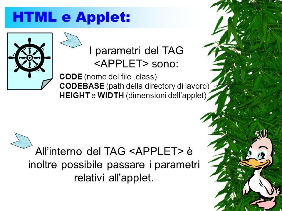 HTML e Applet: I parametri del TAG sono: CODE (nome del file.class) CODEBASE (path della directory di lavoro) HEIGHT e WIDTH (dimensioni dellapplet) Allinterno del TAG è inoltre possibile passare i parametri relativi allapplet.