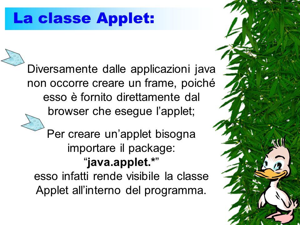 La classe Applet: Diversamente dalle applicazioni java non occorre creare un frame, poiché esso è fornito direttamente dal browser che esegue lapplet;