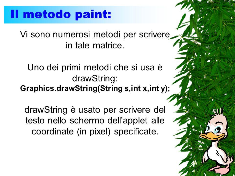 Il metodo paint: Vi sono numerosi metodi per scrivere in tale matrice. Uno dei primi metodi che si usa è drawString: Graphics.drawString(String s,int