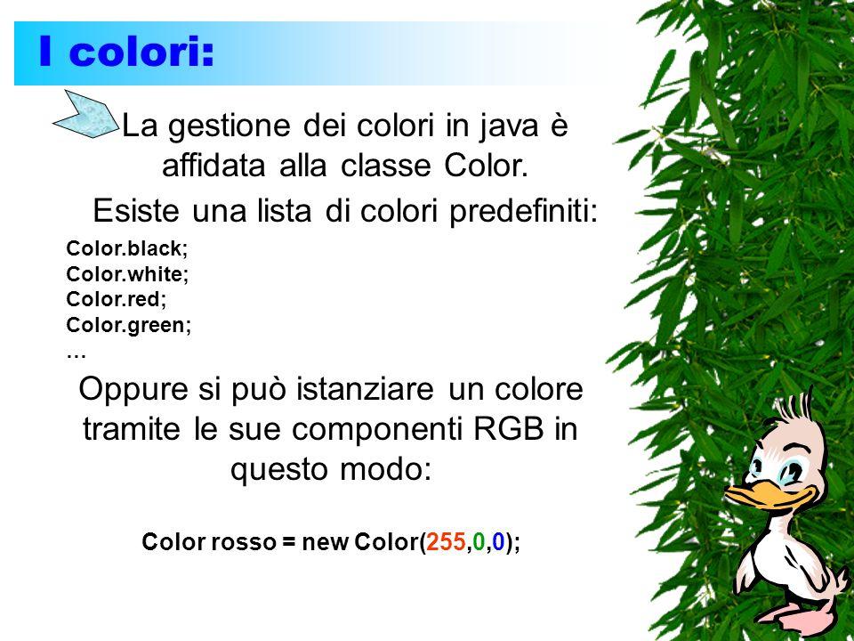 I colori: La gestione dei colori in java è affidata alla classe Color. Esiste una lista di colori predefiniti: Color.black; Color.white; Color.red; Co