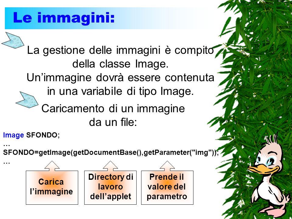 Le immagini: La gestione delle immagini è compito della classe Image. Unimmagine dovrà essere contenuta in una variabile di tipo Image. Caricamento di