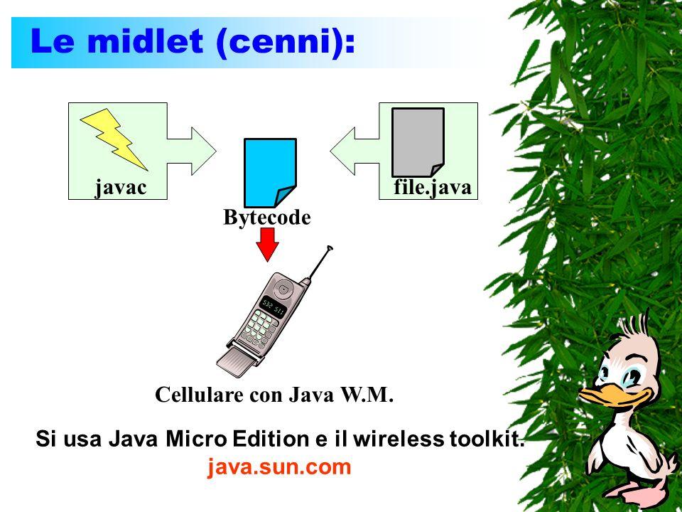Le midlet (cenni): javacfile.java Bytecode Cellulare con Java W.M. Si usa Java Micro Edition e il wireless toolkit. java.sun.com