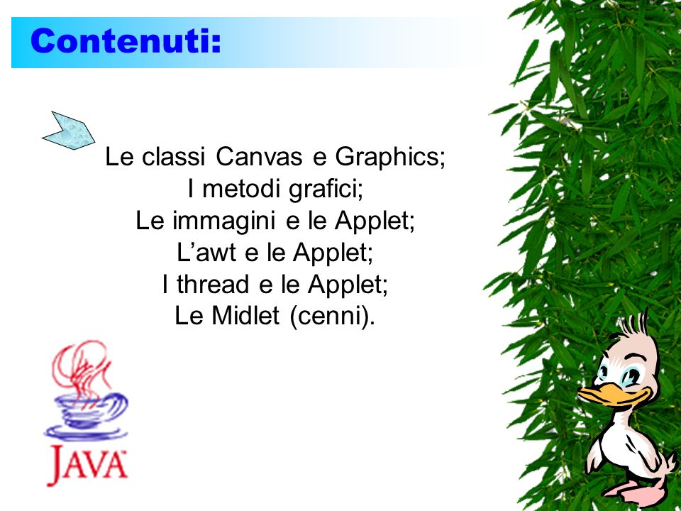 La classe Graphics: I metodi della classe Graphics (da richiamare dentro paint(): Graphics.setColor(Color c); Graphics.drawString(String s,int x,int y); Graphics.fillRect(int x1, int y1, int x2, int y2); Graphics.fillOval(int cx, int cy, int dx, int dy); Graphics.drawRect(int x1, int y1, int x2, int y2); Graphics.drawOval(int cx, int cy, int dx, int dy); Graphics.drawLine(int x1, int y1, int x2, int y2); Graphics.drawImage(Image i, int x,int y, null); Graphics.fillArc(int x, int y, int dx, int dy, int startG, int arcG);