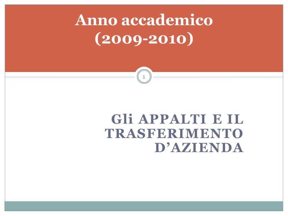 Gli APPALTI E IL TRASFERIMENTO DAZIENDA Anno accademico (2009-2010) 1