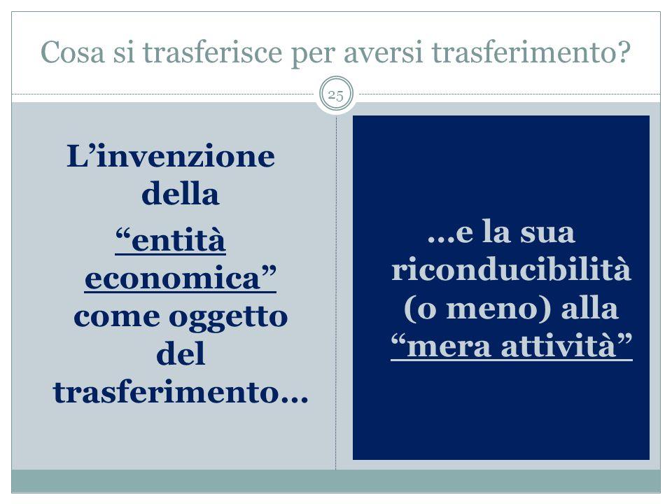 …Purché l operazione si accompagni al trasferimento di un entità economica tra le due imprese.