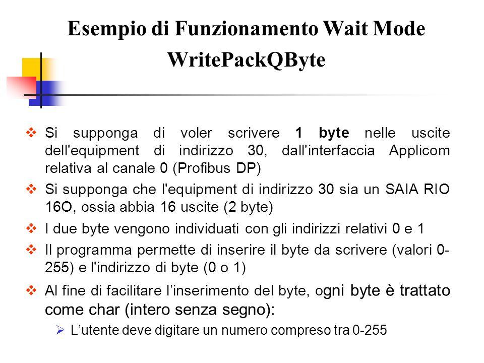 Si supponga di voler scrivere 1 byte nelle uscite dell'equipment di indirizzo 30, dall'interfaccia Applicom relativa al canale 0 (Profibus DP) Si supp