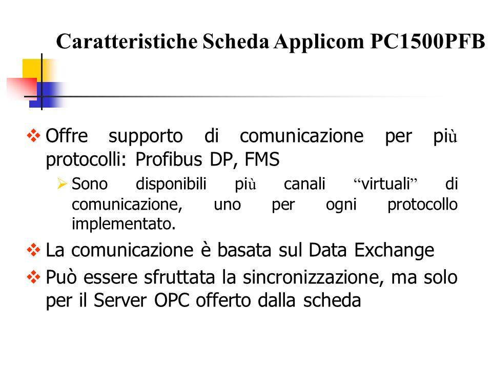 Offre supporto di comunicazione per pi ù protocolli: Profibus DP, FMS Sono disponibili pi ù canali virtuali di comunicazione, uno per ogni protocollo