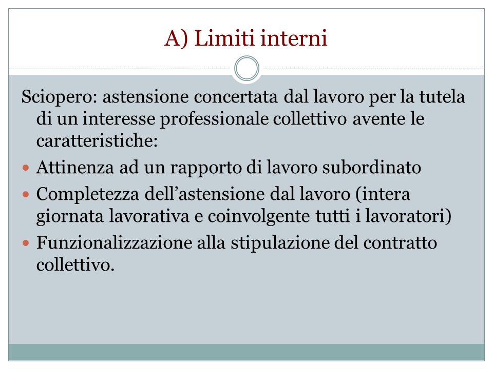 A) Limiti interni Sciopero: astensione concertata dal lavoro per la tutela di un interesse professionale collettivo avente le caratteristiche: Attinen