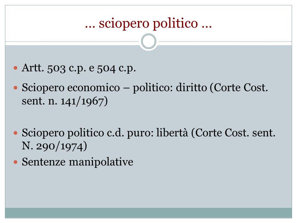 … sciopero politico … Artt. 503 c.p. e 504 c.p. Sciopero economico – politico: diritto (Corte Cost. sent. n. 141/1967) Sciopero politico c.d. puro: li