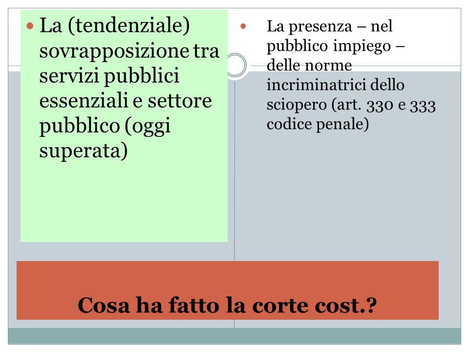 Cosa ha fatto la corte cost.? La (tendenziale) sovrapposizione tra servizi pubblici essenziali e settore pubblico (oggi superata) La presenza – nel pu
