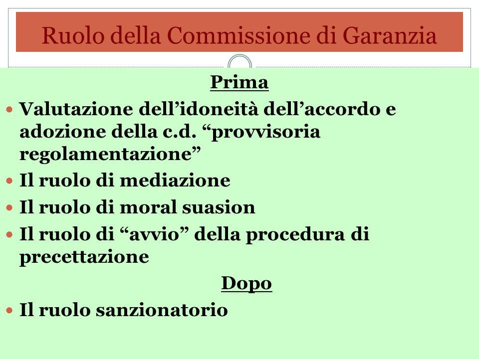 Ruolo della Commissione di Garanzia Prima Valutazione dellidoneità dellaccordo e adozione della c.d. provvisoria regolamentazione Il ruolo di mediazio