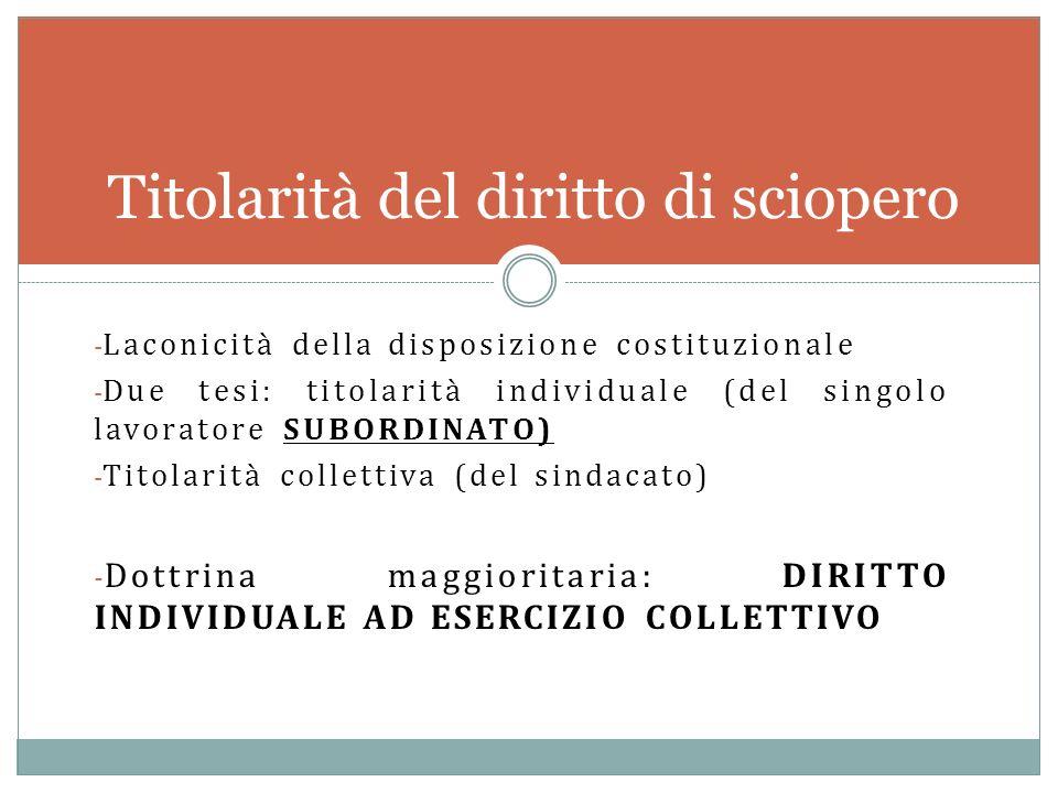 - Laconicità della disposizione costituzionale - Due tesi: titolarità individuale (del singolo lavoratore SUBORDINATO) - Titolarità collettiva (del si