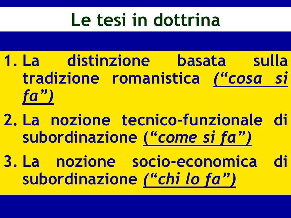 Le tesi in dottrina 1.La distinzione basata sulla tradizione romanistica (cosa si fa) 2.La nozione tecnico-funzionale di subordinazione (come si fa) 3