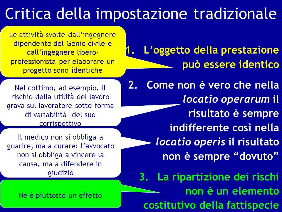 Critica della impostazione tradizionale 1.Loggetto della prestazione può essere identico 2.Come non è vero che nella locatio operarum il risultato è s