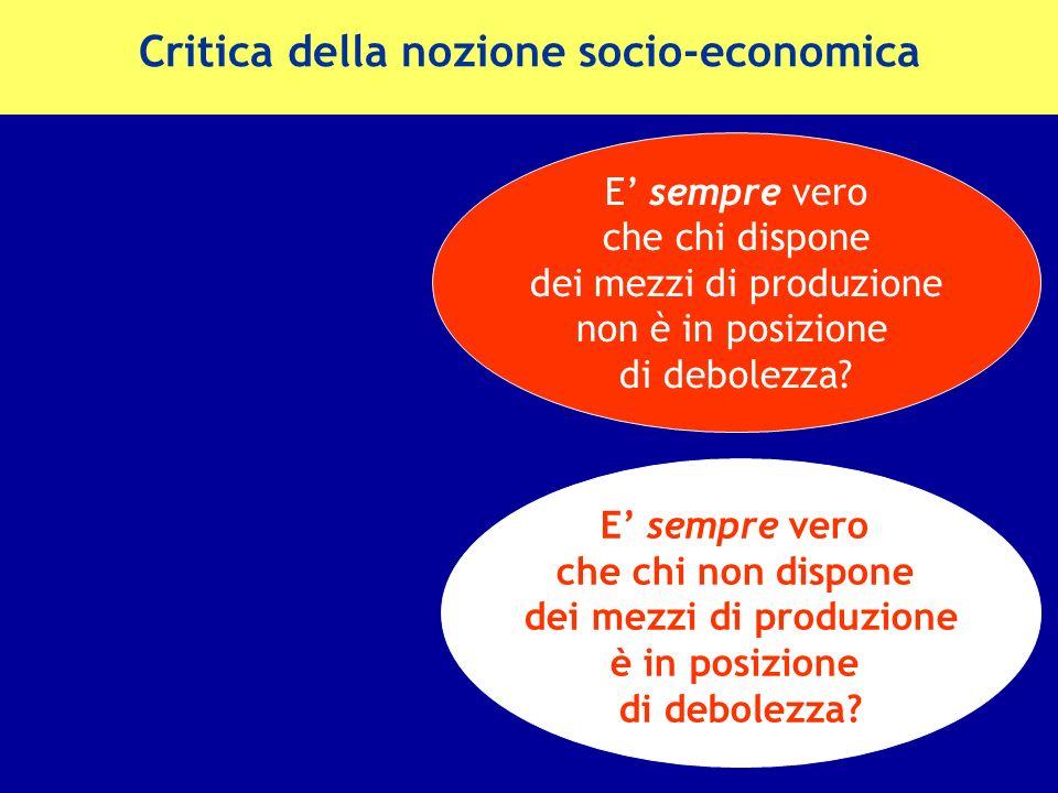 Critica della nozione socio-economica E sempre vero che chi non dispone dei mezzi di produzione è in posizione di debolezza? E sempre vero che chi dis
