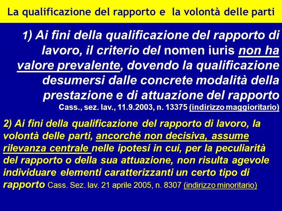 La qualificazione del rapporto e la volontà delle parti 1 ) Ai fini della qualificazione del rapporto di lavoro, il criterio del nomen iuris non ha va