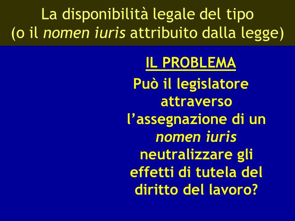 La disponibilità legale del tipo (o il nomen iuris attribuito dalla legge) IL PROBLEMA Può il legislatore attraverso lassegnazione di un nomen iuris n