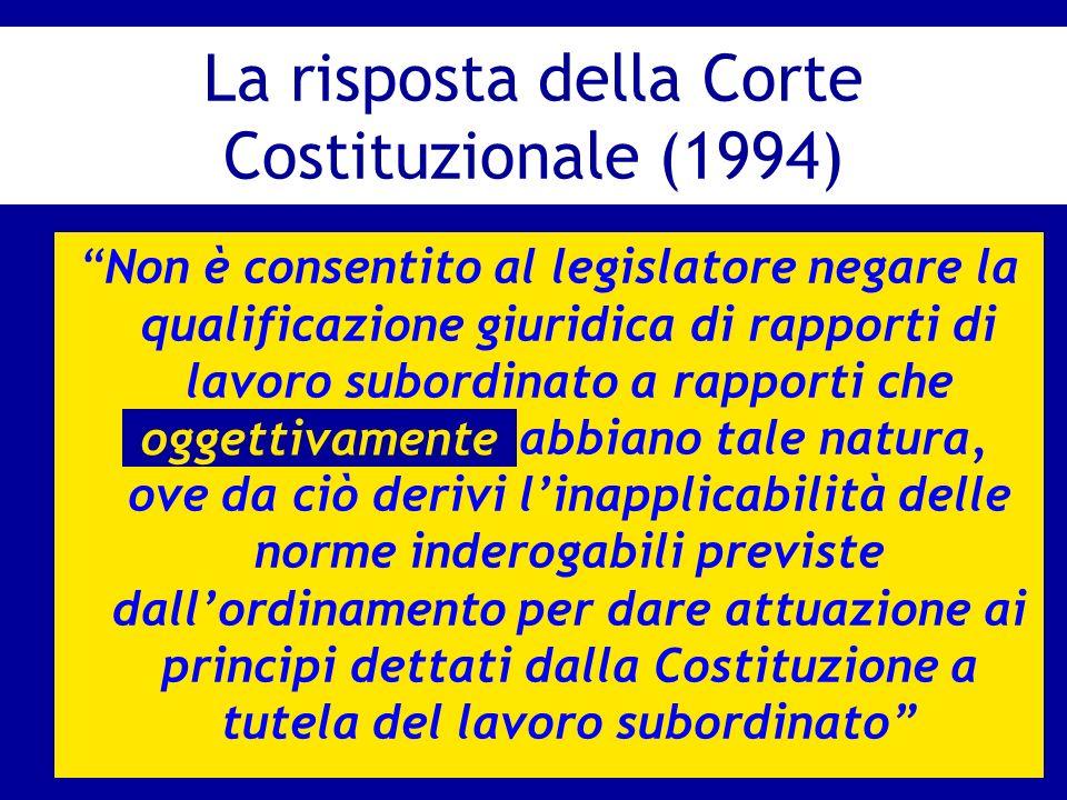 La risposta della Corte Costituzionale (1994) Non è consentito al legislatore negare la qualificazione giuridica di rapporti di lavoro subordinato a r