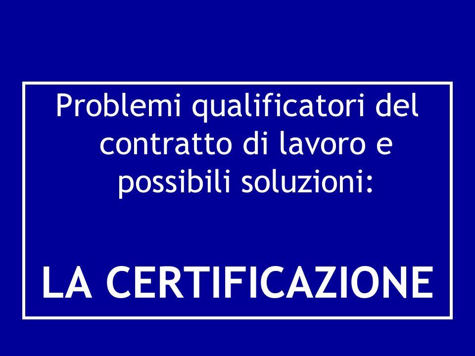 Problemi qualificatori del contratto di lavoro e possibili soluzioni: LA CERTIFICAZIONE