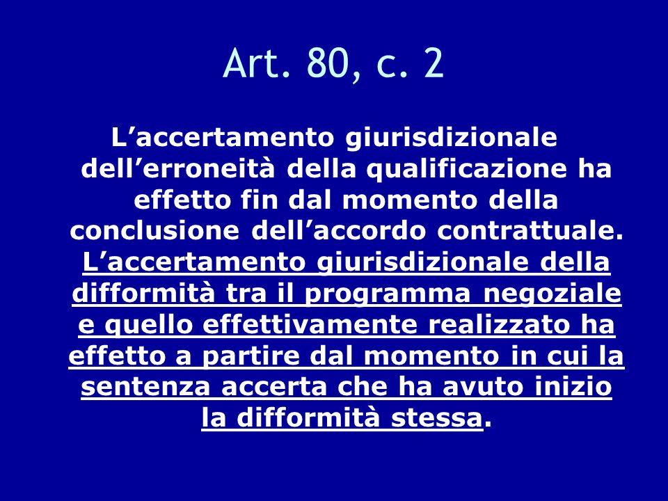 Art. 80, c. 2 Laccertamento giurisdizionale dellerroneità della qualificazione ha effetto fin dal momento della conclusione dellaccordo contrattuale.
