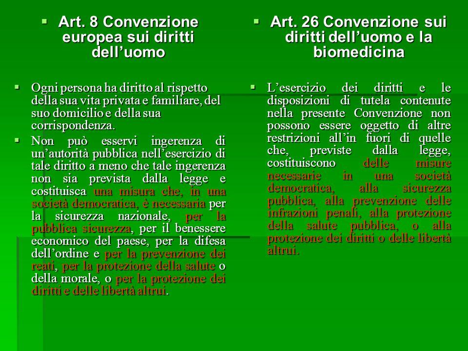 Art. 8 Convenzione europea sui diritti delluomo Art. 8 Convenzione europea sui diritti delluomo Ogni persona ha diritto al rispetto della sua vita pri